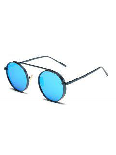 Chunky Frame Round Mirrored Sunglasses - Ice Blue