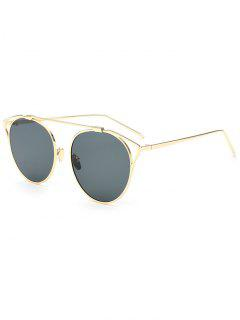 Hollow Out Metal Cat Eye Sunglasses - Deep Gray