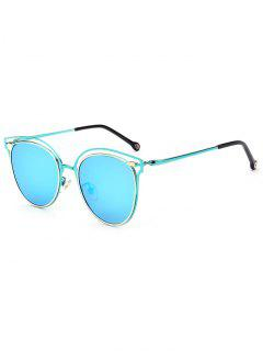 Double Rims Cat Eye Mirrored Sunglasses - Ice Blue