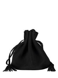 Bolsa Lazo Ajustable Borla Forma De Cubo - Negro