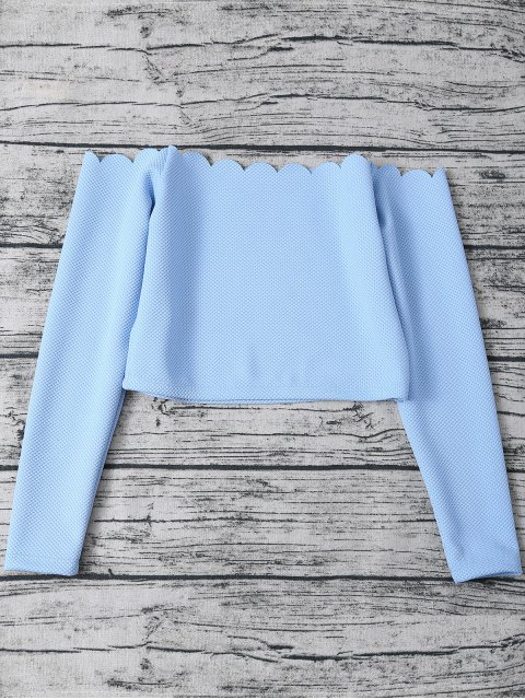 outfits Three Piece Scalloped Bathing Suit - LIGHT BLUE M Mobile