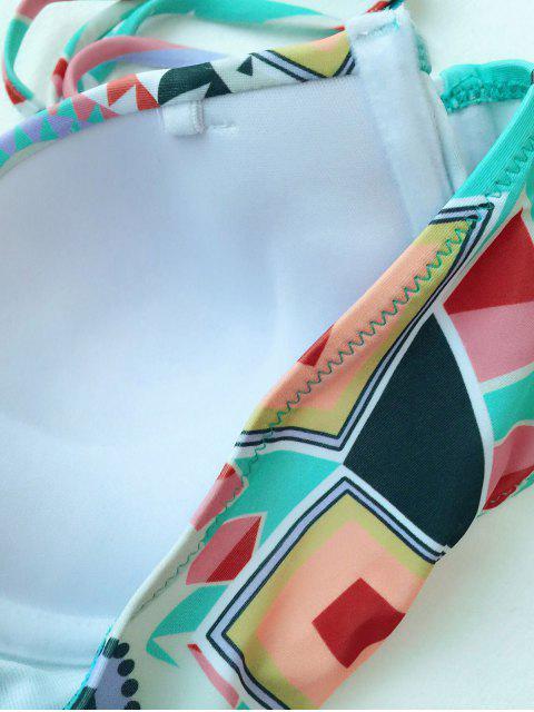 fancy Push Up Geometric Print Bikini Set - COLORMIX S Mobile