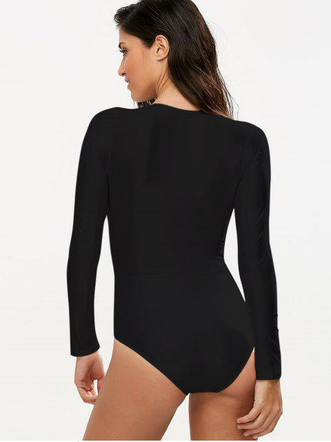sale Long Sleeved Lacing Plunge Swimsuit - BLACK XL Mobile
