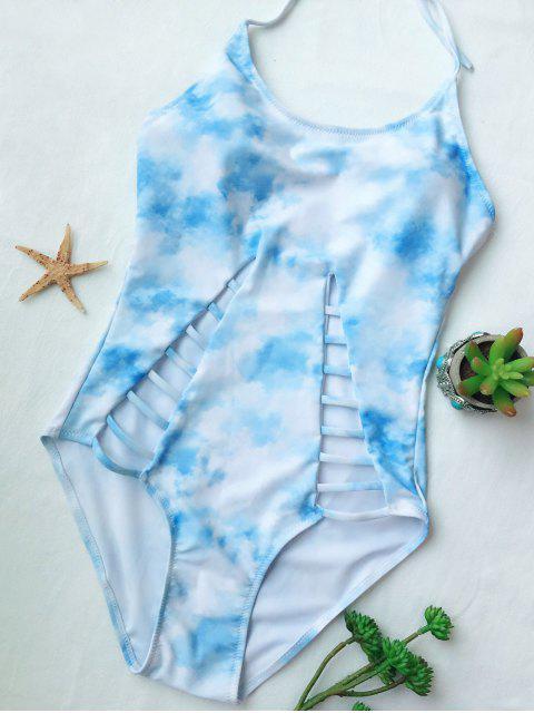 womens Cutout Tie-Dyed One-Piece Swimwear - LIGHT BLUE XL Mobile