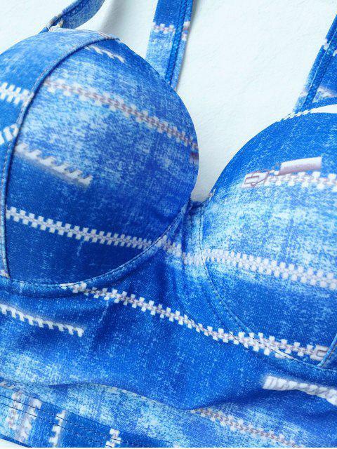 buy Notched Tie-Dyed Bikini Set - BLUE S Mobile