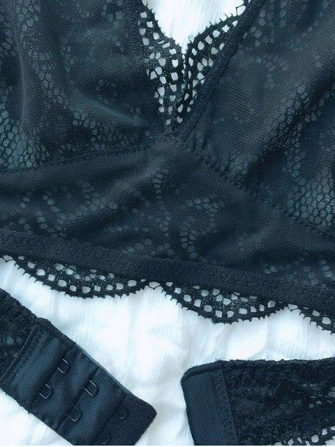 hot Scalloped Embroidered Bra - BLACK L Mobile