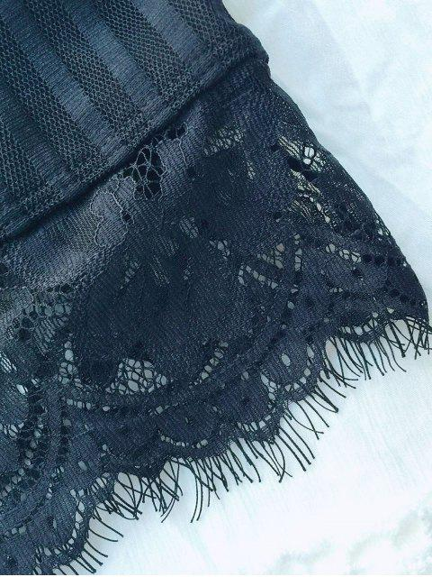 outfits Scalloped Lace Panel Bra - BLACK 2XL Mobile