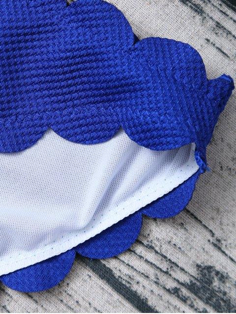 sale Three Piece Scalloped Bathing Suit - SAPPHIRE BLUE L Mobile