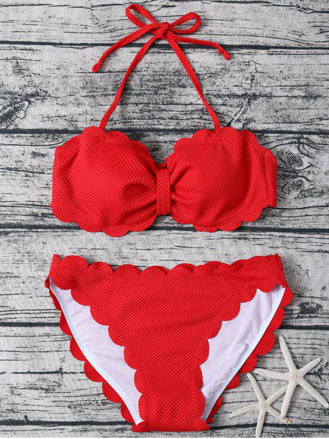 lady Three Piece Scalloped Bathing Suit - RED M Mobile