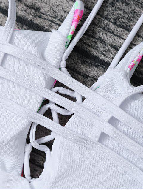 fashion Lace Up Floral Print Bikini Set - ROSE + WHITE L Mobile