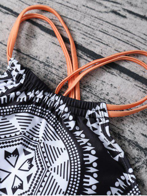 shops Strappy Top Aztec Print High Neck Bikini - WHITE AND BLACK M Mobile