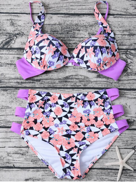 fashion Geometric Floral Print High Waisted Bikini - MULTICOLOR M Mobile