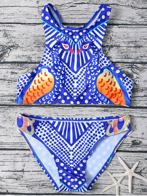 best Printed Racerback Pullover Bikini Set - BLUE AND WHITE L Mobile