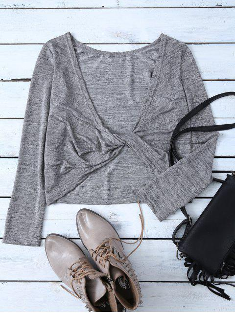 latest Heathered Long Sleeve Twist T-Shirt - GRAY S Mobile