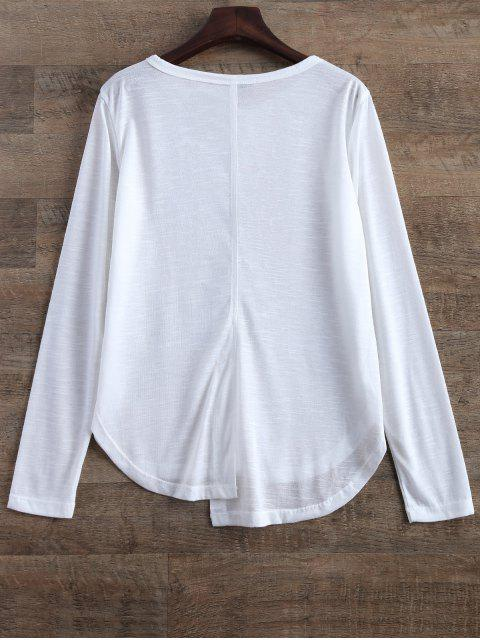 outfit Slit Asymmetrical T-Shirt - WHITE S Mobile