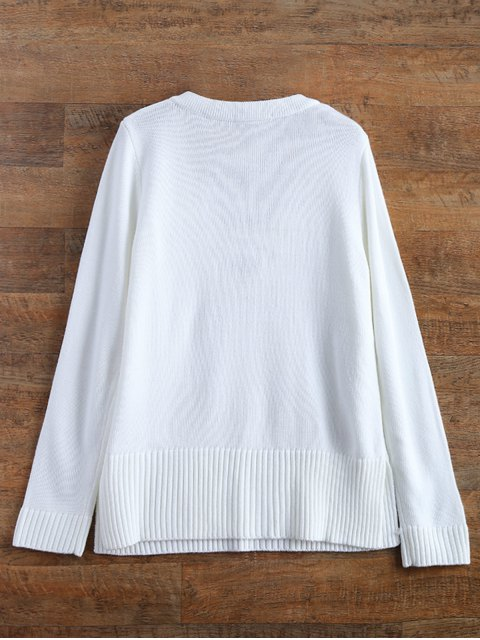 trendy Ribbed Cuffs Lace Up Sweater - WHITE S Mobile
