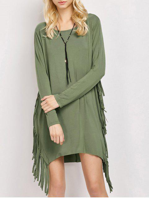 fashion Long Sleeves Fringed Shift Dress - ARMY GREEN M Mobile