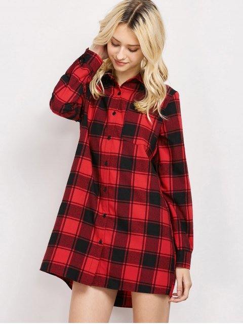 lady Checked Long Shirt - RED S Mobile