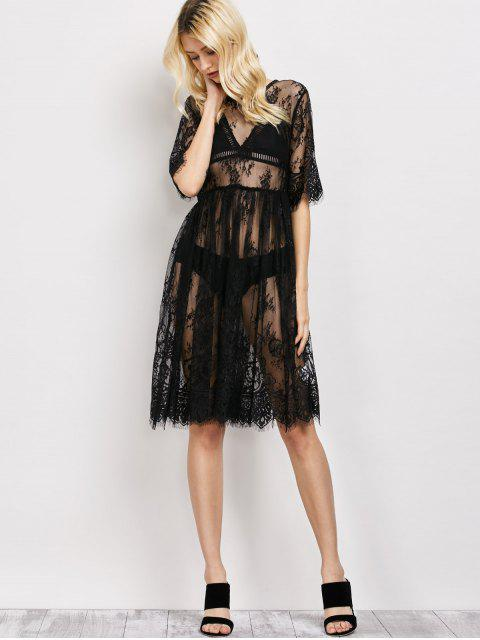 best Scallopped See-Through Lace Dress - BLACK S Mobile
