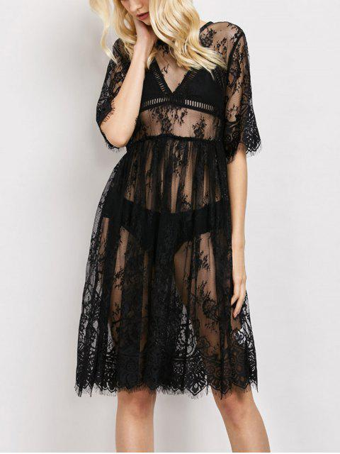 lady Scallopped See-Through Lace Dress - BLACK M Mobile