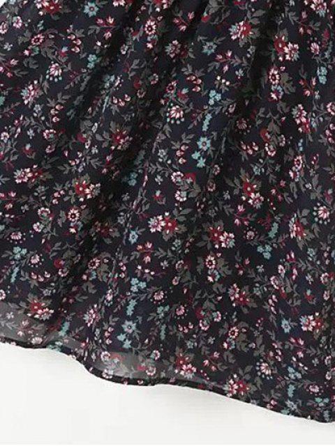 outfits A Line Floral Long Sleeve Chiffon Dress - PURPLISH BLUE L Mobile