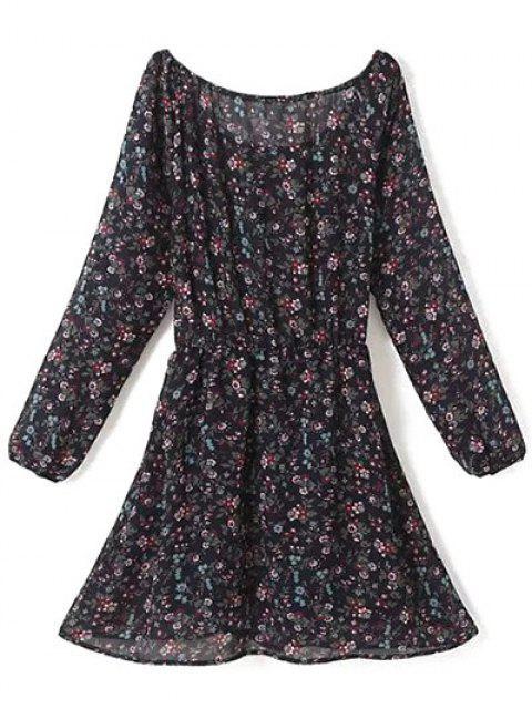 shops A Line Floral Long Sleeve Chiffon Dress - PURPLISH BLUE S Mobile