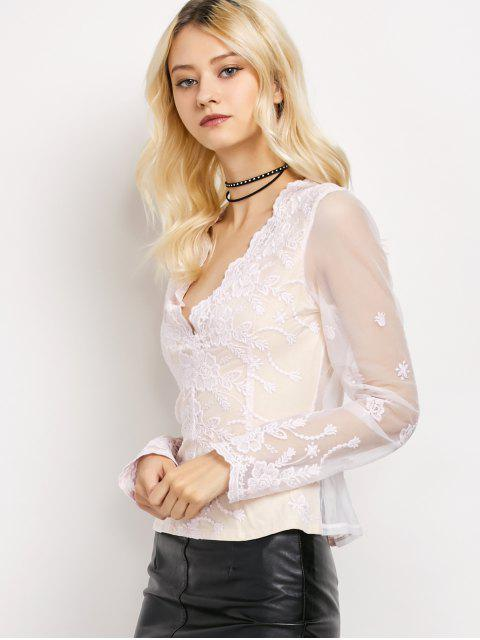 hot Long Sleeve Semi Sheer Lace Top - LIGHT PINK M Mobile