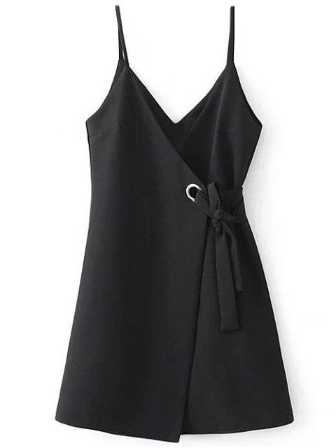 ladies A Line Wrap Slip Dress - BLACK S Mobile