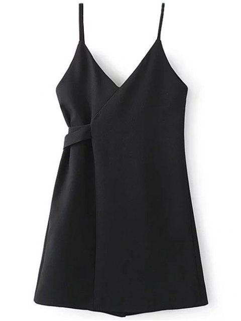 women's A Line Wrap Slip Dress - BLACK M Mobile