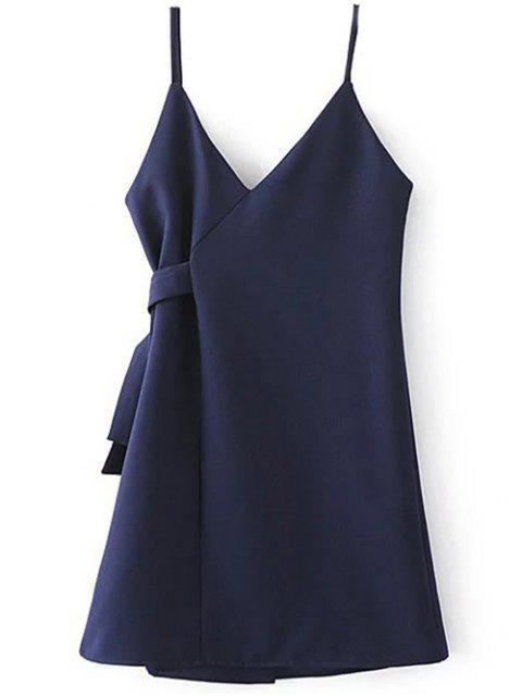 best A Line Wrap Slip Dress - PURPLISH BLUE M Mobile