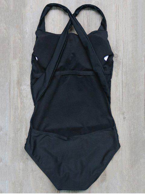 new Backless Crossover One-Piece Swimwear - BLACK M Mobile