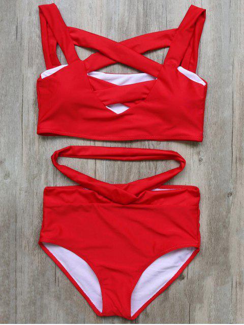 shop Crossover Cutout Bikini Set - RED S Mobile