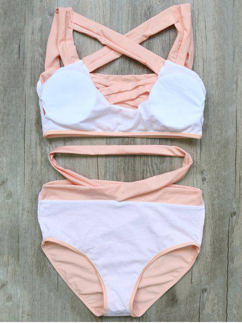 fashion Crossover Cutout Bikini Set - PINK S Mobile