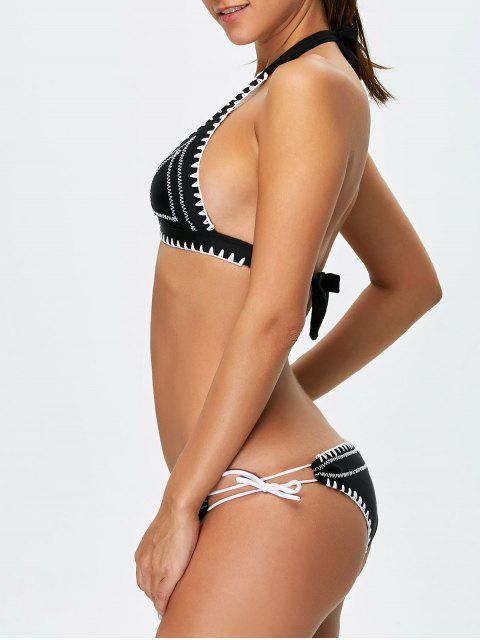 hot Embroidered Bowknot Bikini Set - BLACK M Mobile