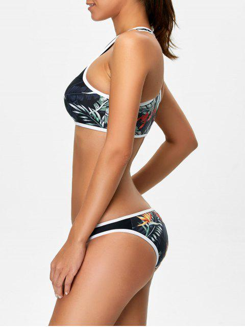 buy Racerback Leaf Print Bikini Set - BLACK S Mobile