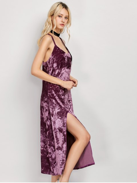 latest Low Cut Velvet Midi Cami Slip Dress - FUCHSIA ROSE XL Mobile