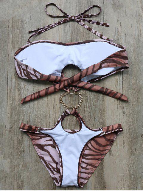 womens Leopard High Cut One-Piece Swimwear - BROWN M Mobile