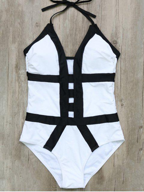 women's Hollow Out Color Block Halter One-Piece Swimwear - WHITE AND BLACK S Mobile