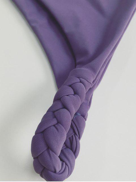 hot High Leg Knitted Bikini Set - PURPLE L Mobile