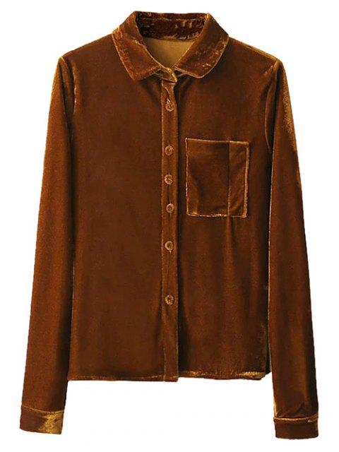 trendy Velvet Patch Pocket Shirt - GOLD BROWN L Mobile