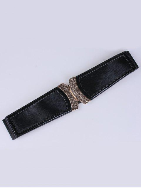 fashion Faux Leather Elastic Belt - BLACK  Mobile