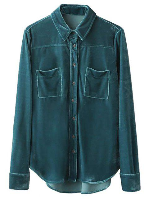 unique Velvet Patch Pockets Shirt - PEACOCK BLUE M Mobile