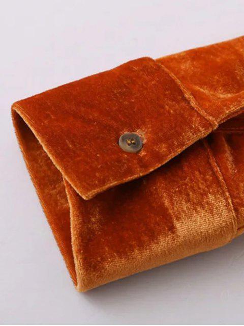 womens Velvet Patch Pockets Shirt - ORANGE RED S Mobile