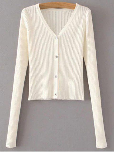 hot Buttons Cropped Ribbed Cardigan - WHITE ONE SIZE Mobile