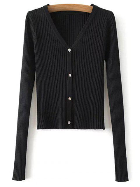 outfit Buttons Cropped Ribbed Cardigan - BLACK ONE SIZE Mobile
