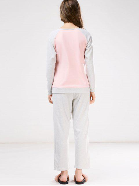 new Snowflake Tee with Pants Loungewear - PINK AND GREY 2XL Mobile