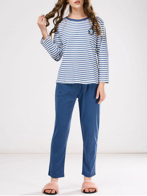 buy Striped Patch Design Tee with Pants Loungewear - BLUE L Mobile