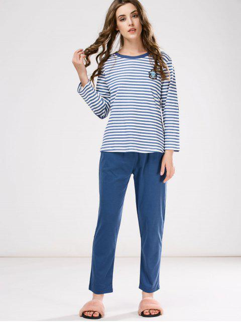 affordable Striped Patch Design Tee with Pants Loungewear - BLUE XL Mobile