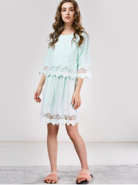 fashion Lace Panel Scalloped Sleep Dress - LIGHT GREEN ONE SIZE Mobile