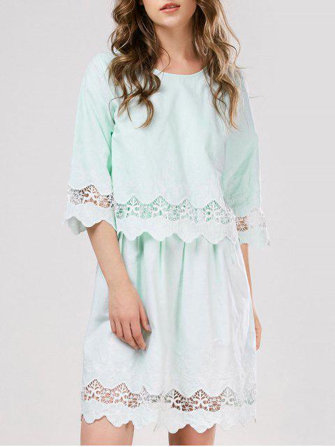 fashion Lace Panel Scalloped Sleep Dress - LIGHT GREEN ONE SIZE Mobile